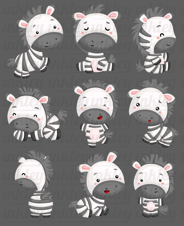 Cute Zebra Clipart Cute Animal Clip Art Wild Animal Free Etsy In 2021 Cute Animal Clipart Zebra Clipart Cute Animals
