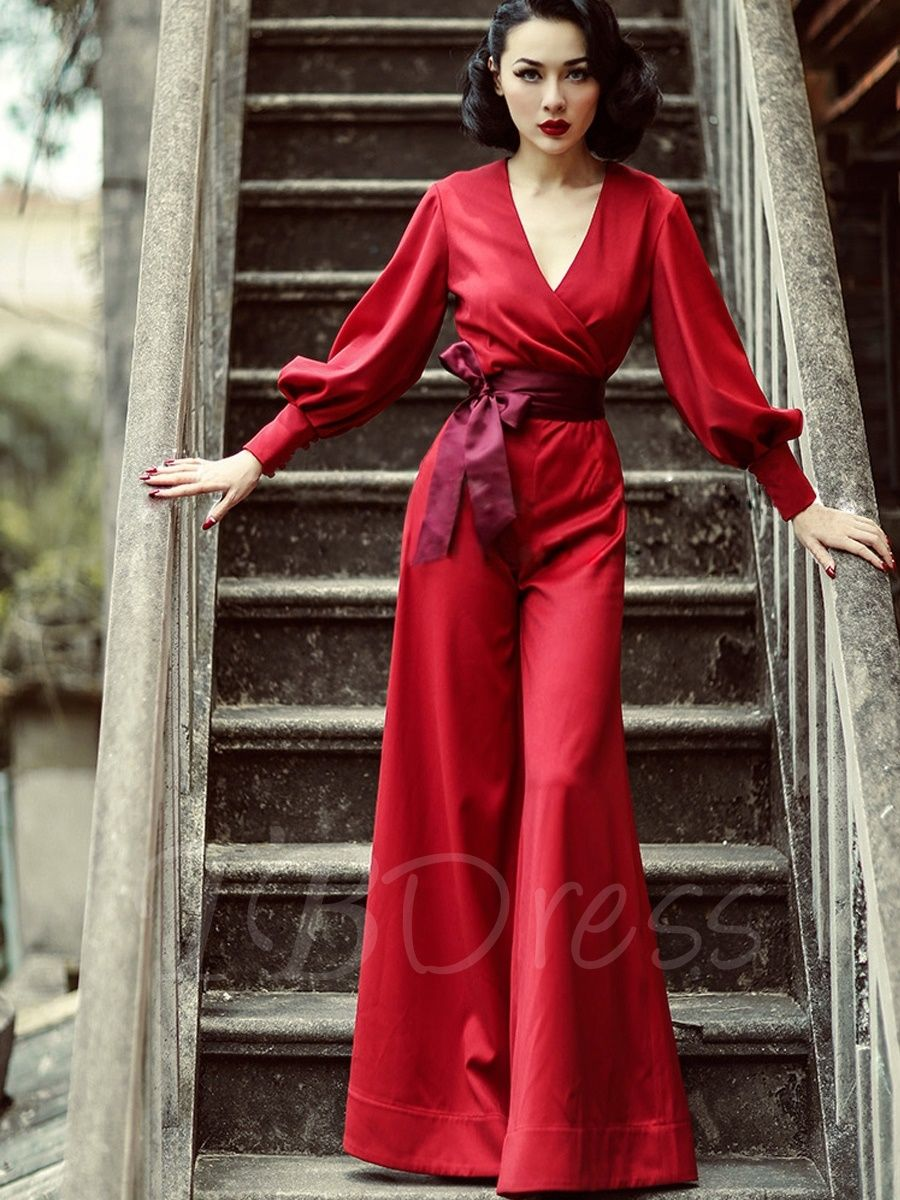 4176d1197f3 Red Bishop Sleeve Palazzo Vintage Jumpsuit - m.tbdress.com
