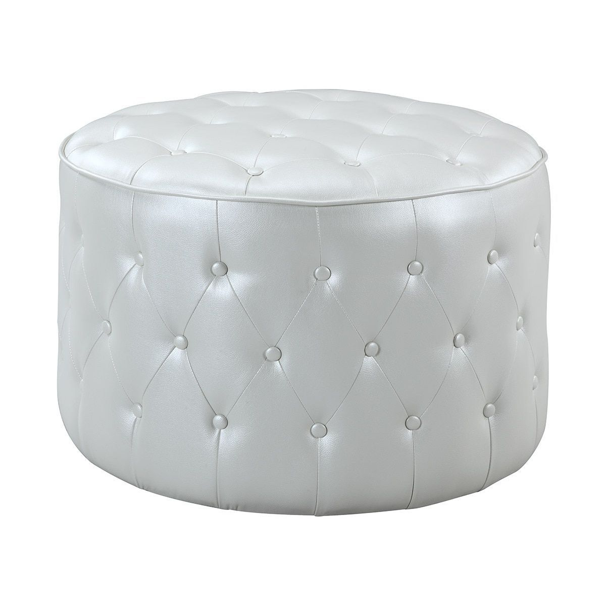 Chic Home Marley Leather Button-tufted Round Pouf Ottoman (Marley ...