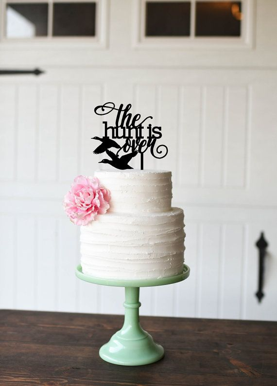 The Hunt is Over Duck Hunting Wedding Cake Topper Custom Cake
