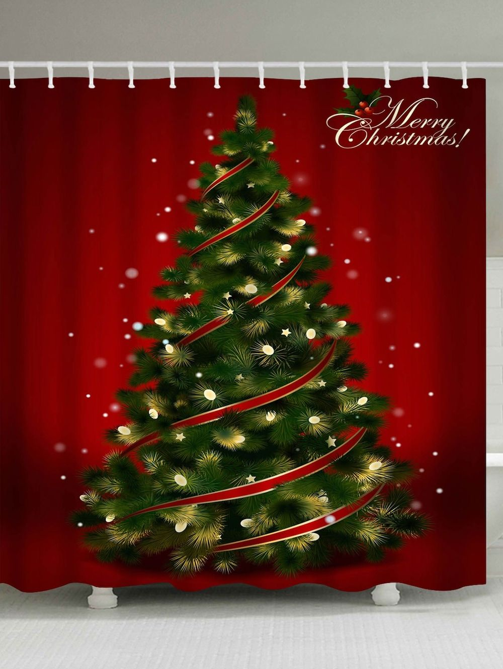 Polyester Waterproof Christmas Tree Shower Curtain
