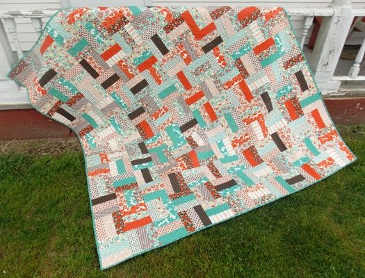Just sew jelly roll strips (or 2 1/2″ strips) together then cut ... : 2 1 2 strip quilt patterns - Adamdwight.com