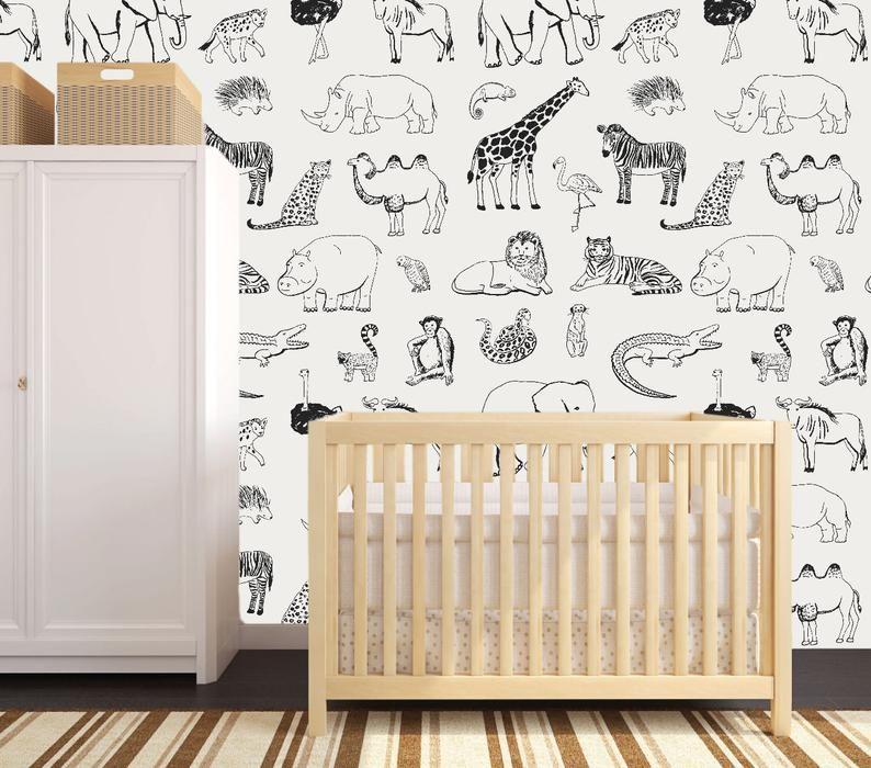 Safari Animal Removable Wallpaper Safari Nursery Walls Safari Nursery Decor Nursery Wallpaper