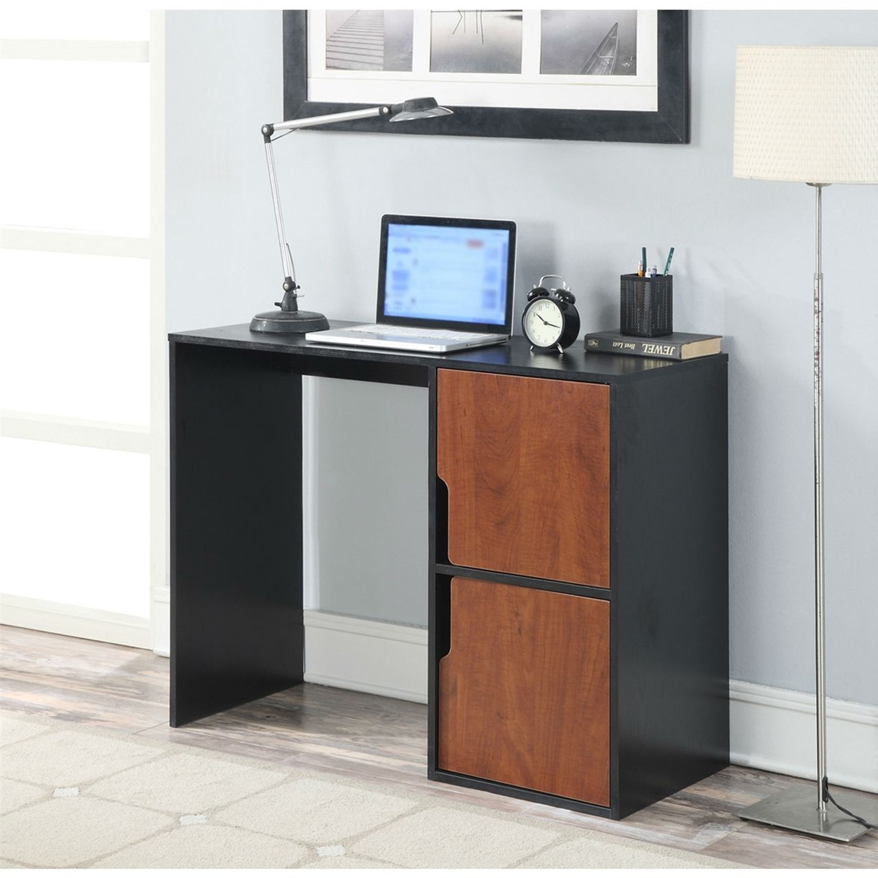 Students Modern Cubes Basic Writing Computer Desk In Black Cherry