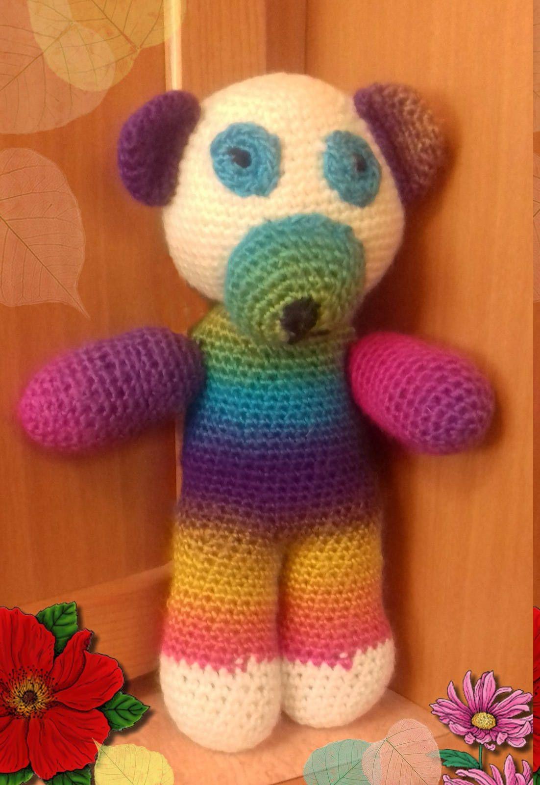 Teddy bear toy crochet of antialergic soft cudle acryl pure wool ...
