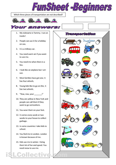 fun sheet for beginners transportation teaching english esl worksheets for beginners. Black Bedroom Furniture Sets. Home Design Ideas