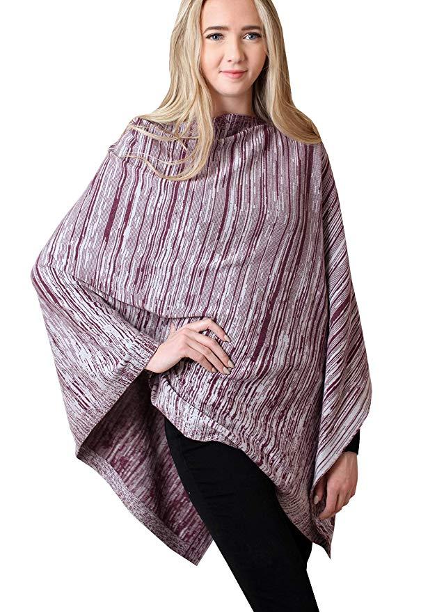 Women/'s 5-Way Knit Poncho Sweater Pullover Cardigan Topper PLUS SIZE All-Season Lightweight Super Soft 100/% ORGANIC Cotton