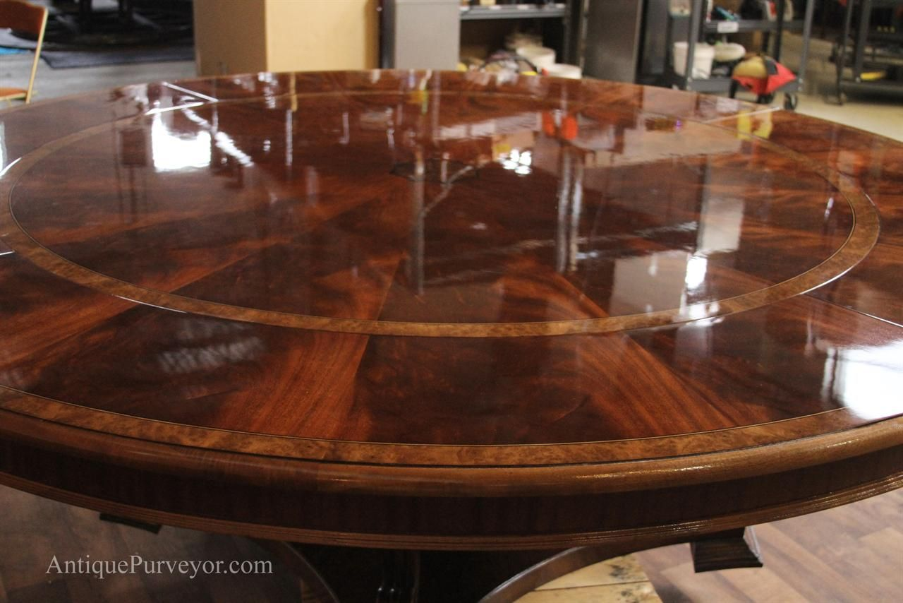 Extra Large Round Mahogany Dining Table With Perimeter Leaves