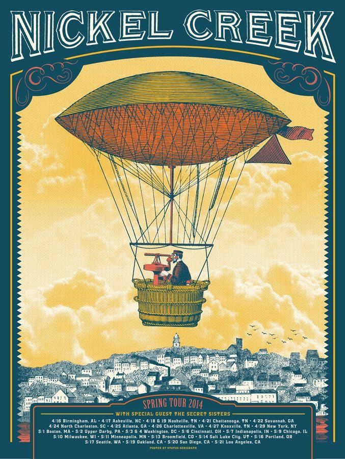 Image of Nickel Creek - 2014 tour poster (blue/red)   Justin Helton