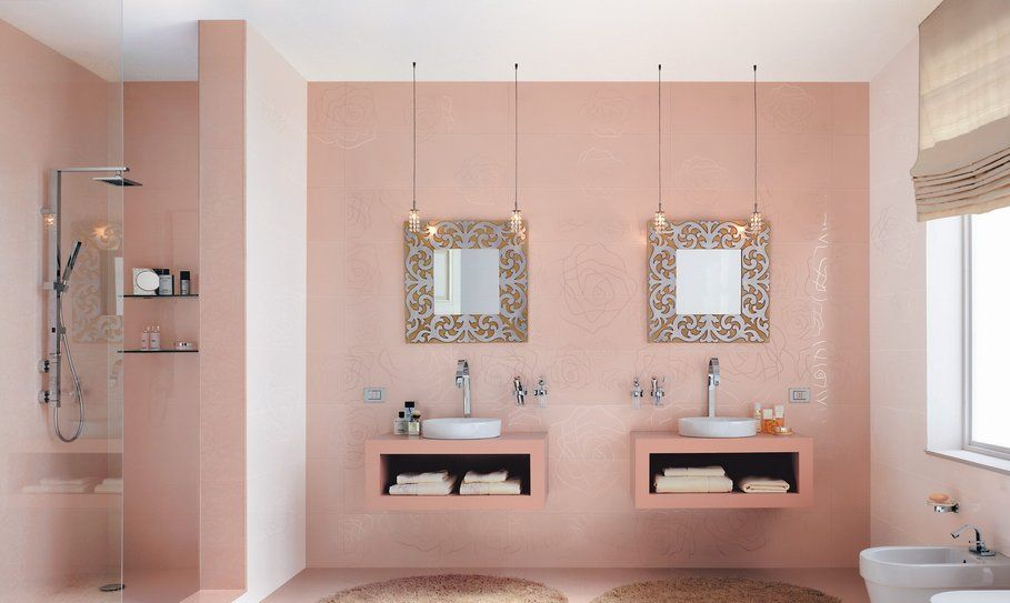 organisation déco salle de bain gris et rose | Salle de bains gris ...