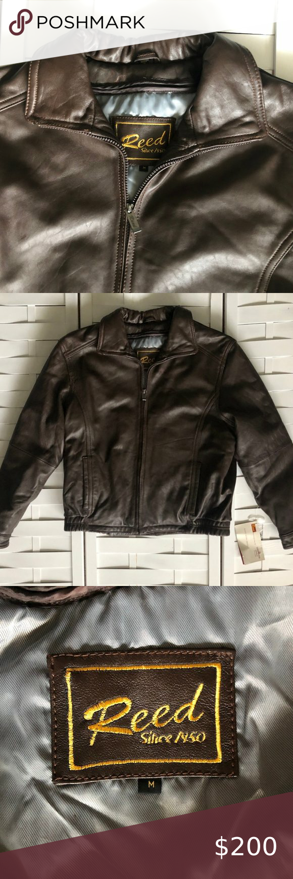 Leather Bomber Motorcycle Jacket Condition New With Tags Brand Nwt Reed Leather Bomber Moto Brown Leather Bomber Jacket Suede Jacket Men Wool Bomber Jacket [ 1740 x 580 Pixel ]