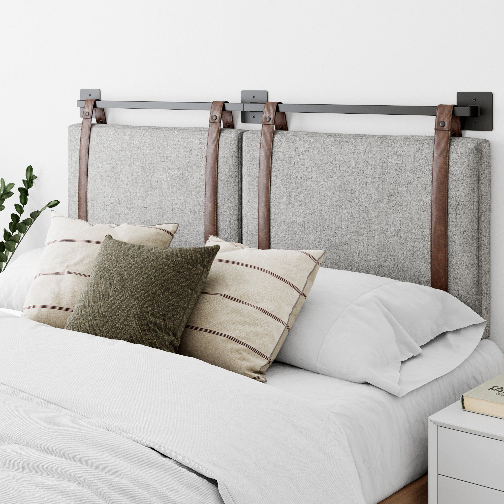 Nathan James Harlow King Wall Mount Headboard Faux Leather Upholstered Headboard Adjustable Height Vintage Brown Pu Leather Straps With Black Matte Metal Rail In 2020 Gray Upholstered Headboard Wall Mounted Headboards