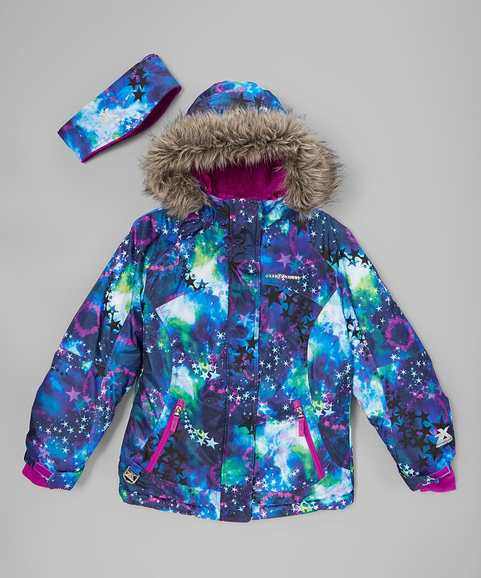 437a8fe44d2f ZeroXposur Blue Yola Galaxy Snowboard Jacket   Ear Warmer - Girls by ...