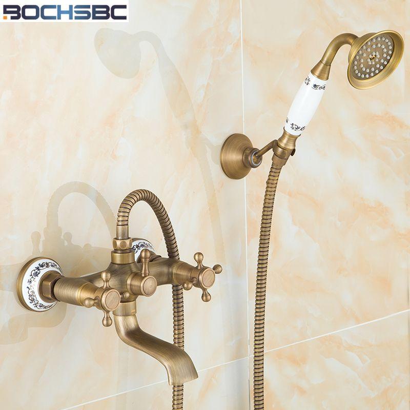 hand held faucet shower attachment. BOCHSBC Retro Bathroom Shower Set European Style Telephone Shape Copper  Head Ceramic Hand Held Antique