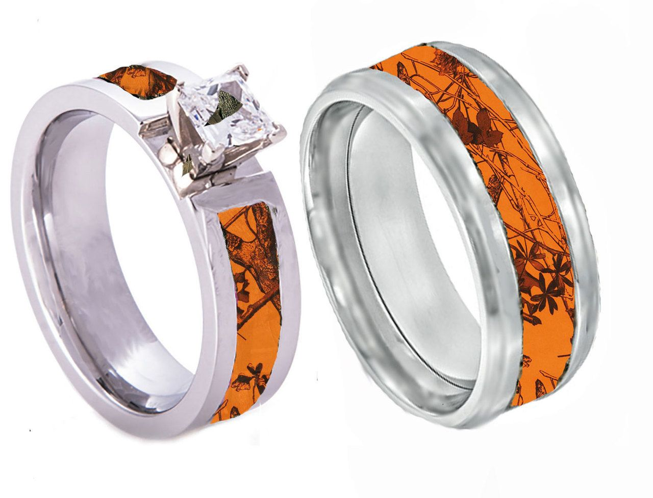 orange camo band couples ring set with stone | camo, ring and camo