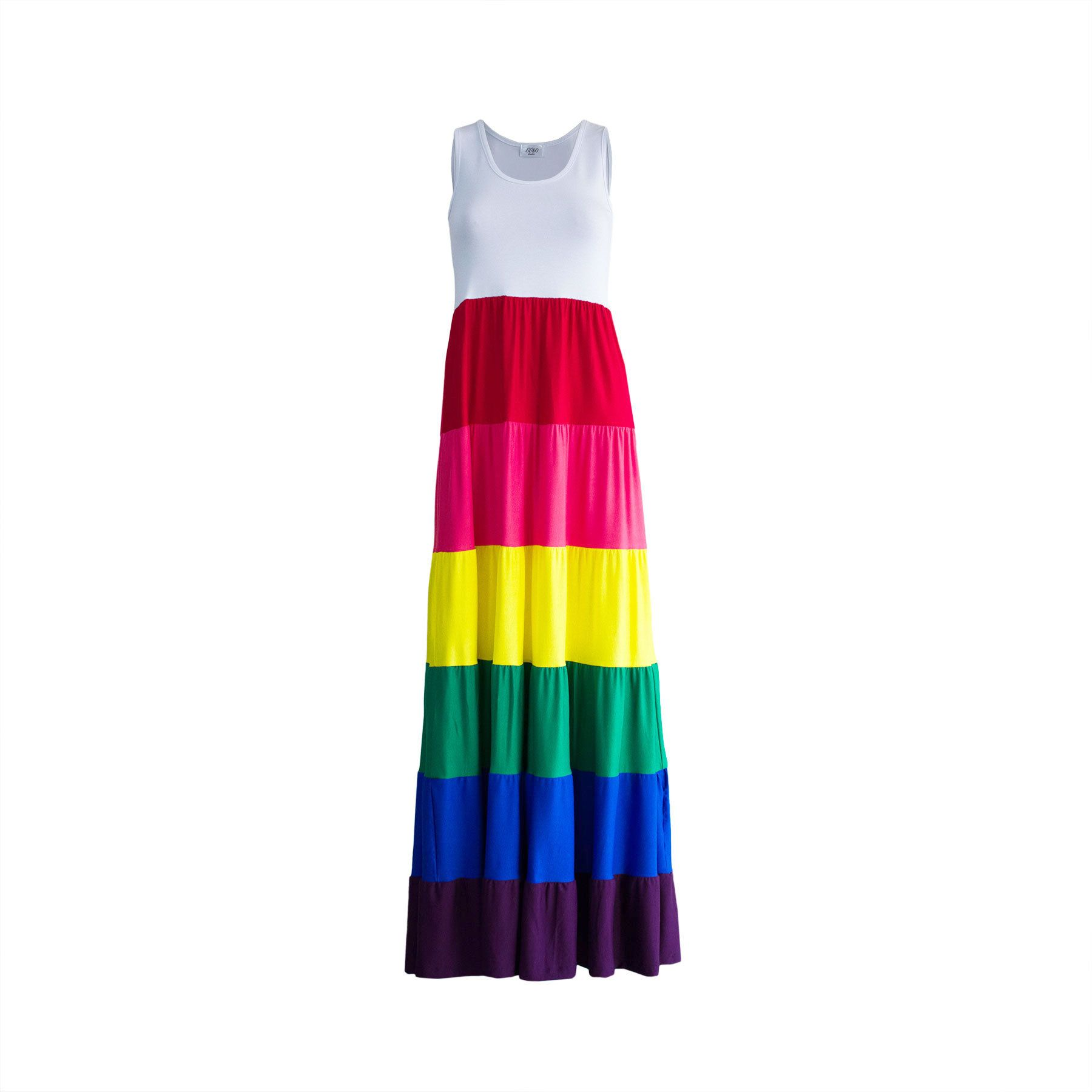Rainbow Tiered Maxi Dress Women Colourful Festival Long Rayon Etsy Tiered Maxi Dress Womens Maxi Dresses Plus Size Bohemian Dresses [ 1800 x 1800 Pixel ]