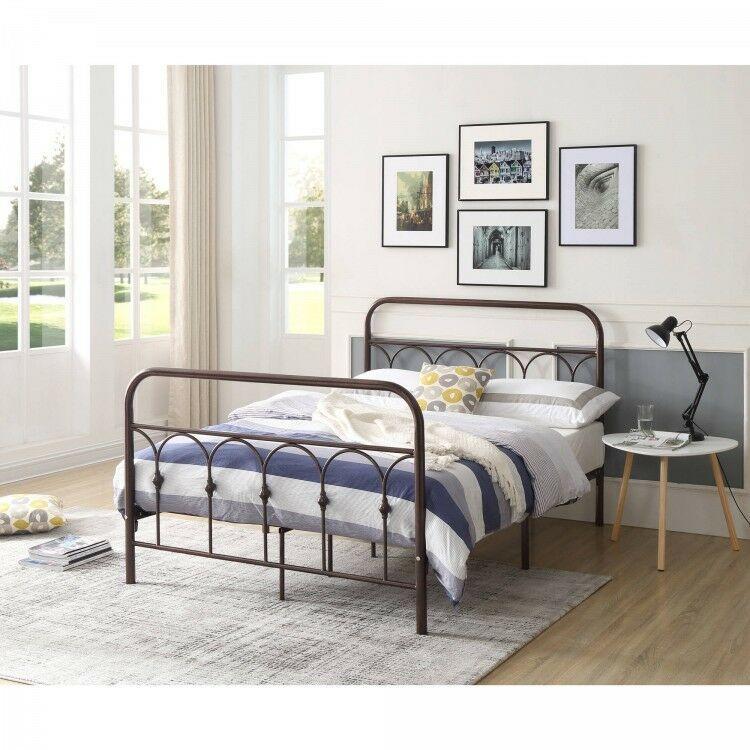 Queen Metal Bed Charcoal Bedframe Headboard Footboard Furniture Rails Furniture Ebay Metal Platform Bed Headboards For Beds Queen Metal Bed