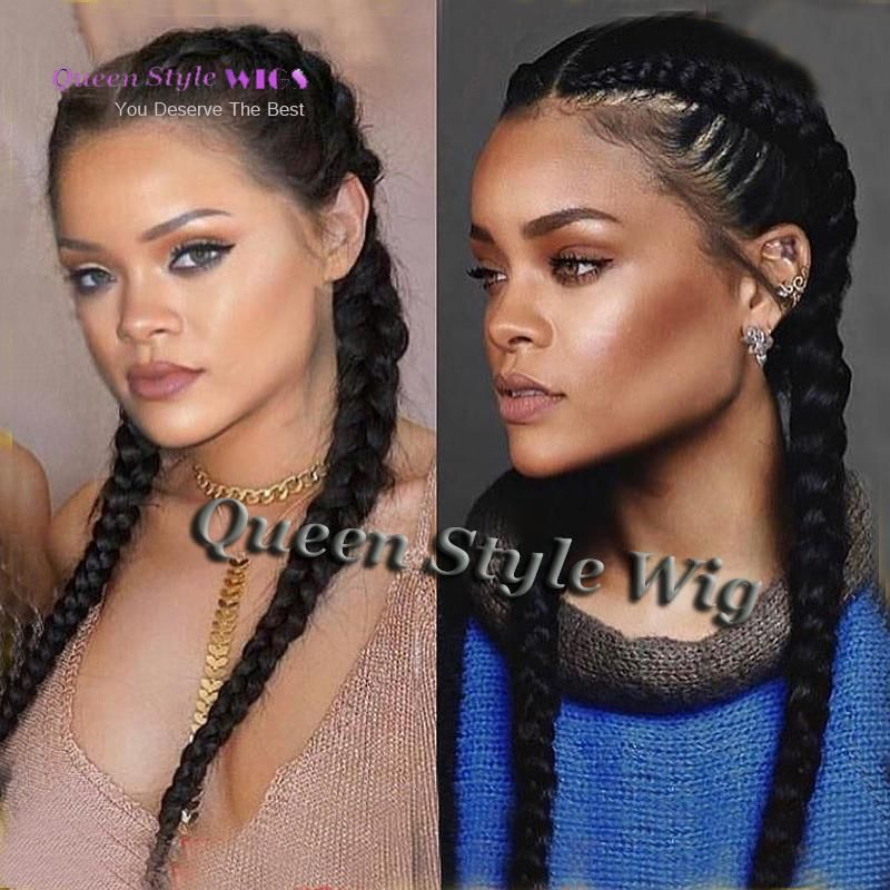 Celebrity Rihanna Double Dutch Braids Hairstyle Lace Front Wig