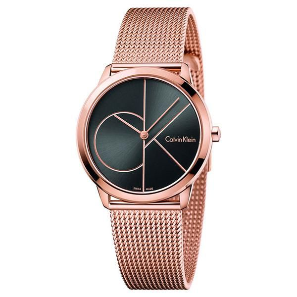 05b6e76fc8d Minimal 35mm Black Dial Rose Gold-Tone Stainless Steel Unisex Watch Relógio  Calvin Klein