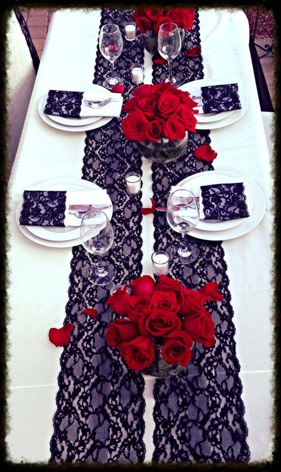 Black Lace Vintage Black Lace Vintage Lace Wedding Lace Wedding Supplies Table Cloth Black And Redwedding