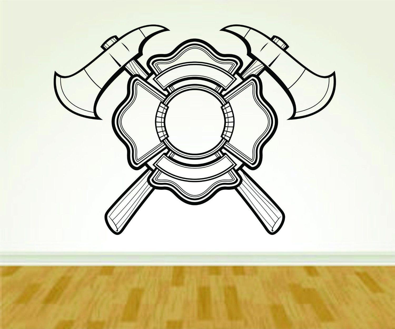 firefighter fireman ax and shield logo version 113 decal sticker shield logo firemen and. Black Bedroom Furniture Sets. Home Design Ideas