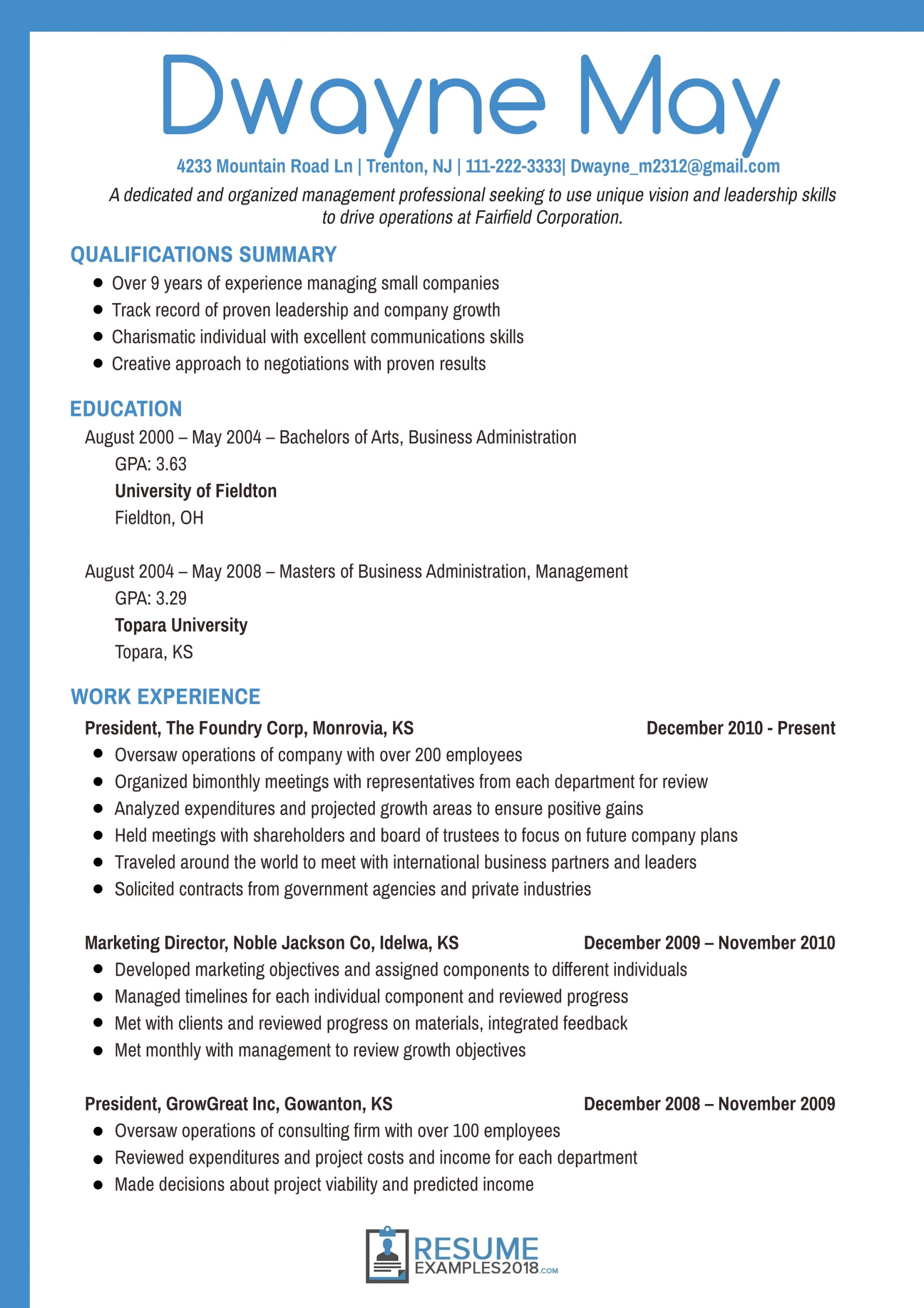 2018 Resume Examples Pinterest Resume Examples Resume And