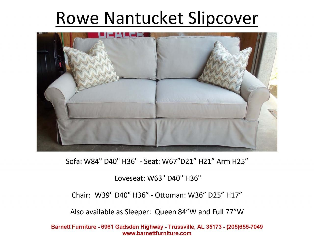 Rowe Nantucket Slipcover 2 Cushion Sofa You Choose The Fabric