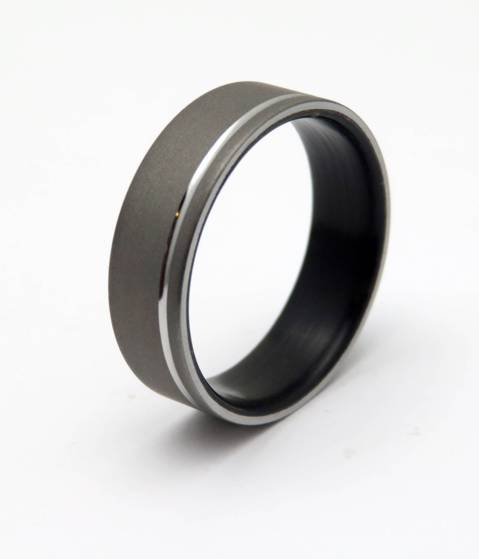 Ebony Wood Ring With Blasted Titanium Wood Wedding Ring With Polished Groove Titanium Ring Wood W Wood Wedding Ring Titanium Wedding Rings Wood Wedding Band