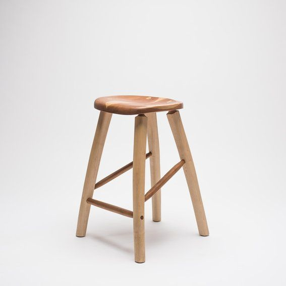 Carved Cherry And Maple Bar Stool By Fabian Fischer Of Madison Wi