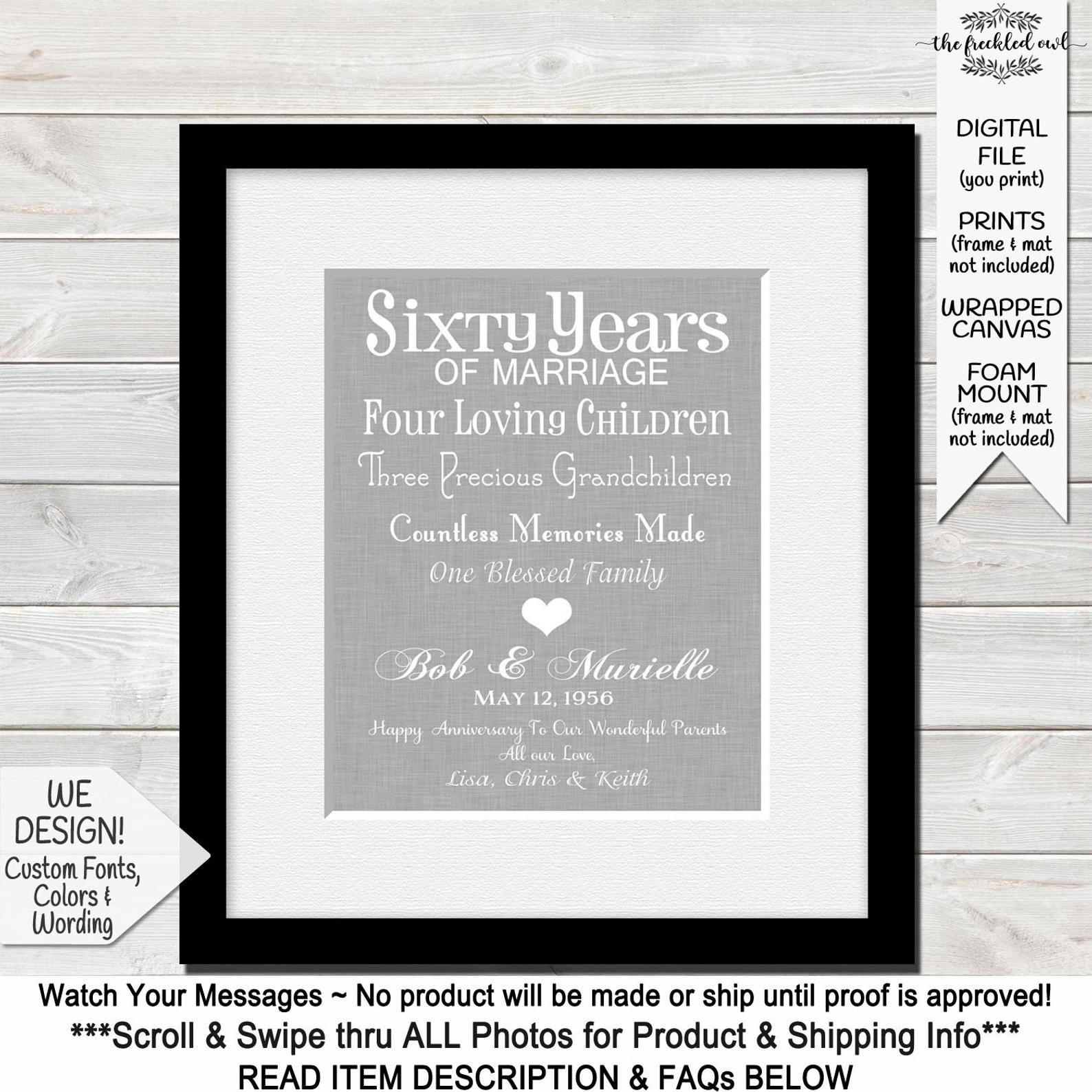 60th anniversary gift for grandparents 60th wedding etsy