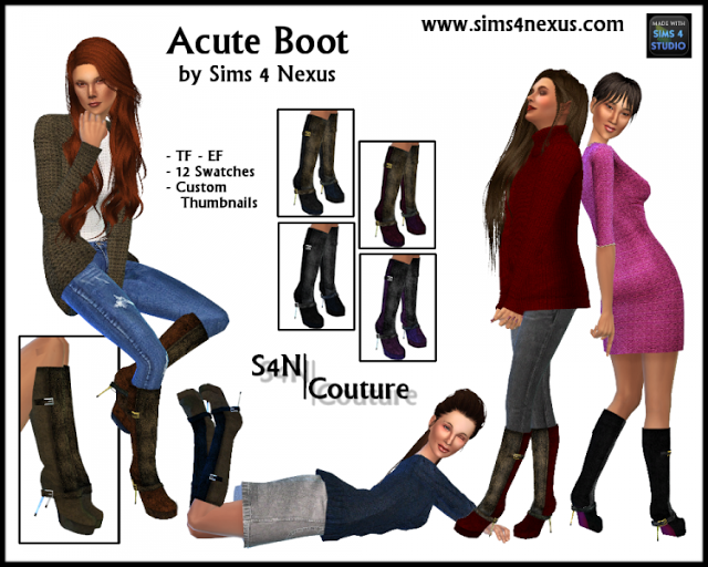 Sims 4 CC's - The Best: Boots by Sims 4 Nexus
