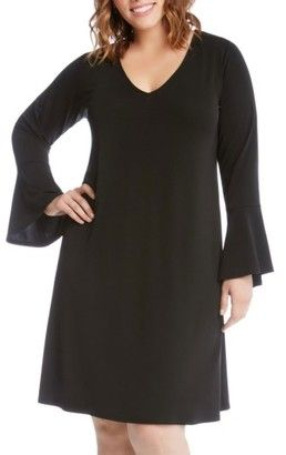 Plus Size Women's Karen Kane Taylor Bell Sleeve A-Line Dress #dresses