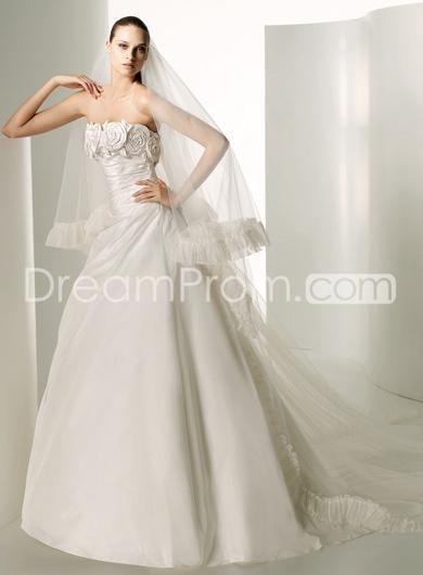 A Line Princess Strapless Chapel Train Taffeta wedding dress for brides 2010 Style(WDS0034)