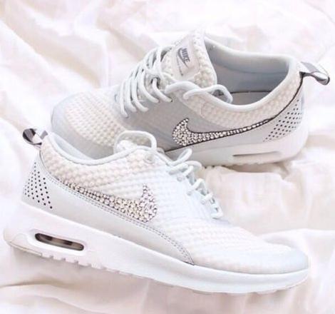 LIMITED Light Gray Nike Air Max Thea adorned with Swarovski Crystals ... 3ebb7a8992