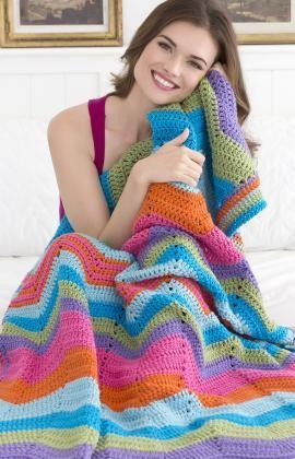 Best Free Crochet » Free Bright Ripple Throw Crochet Pattern from RedHeart.com #253