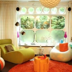 ... Furniture Pictures: Retro Inspired Plastic Furniture Bright Green Bobo  Relax Chair And Honey Comb Lamp At Contemporary Living Room With Round Orange  Rug