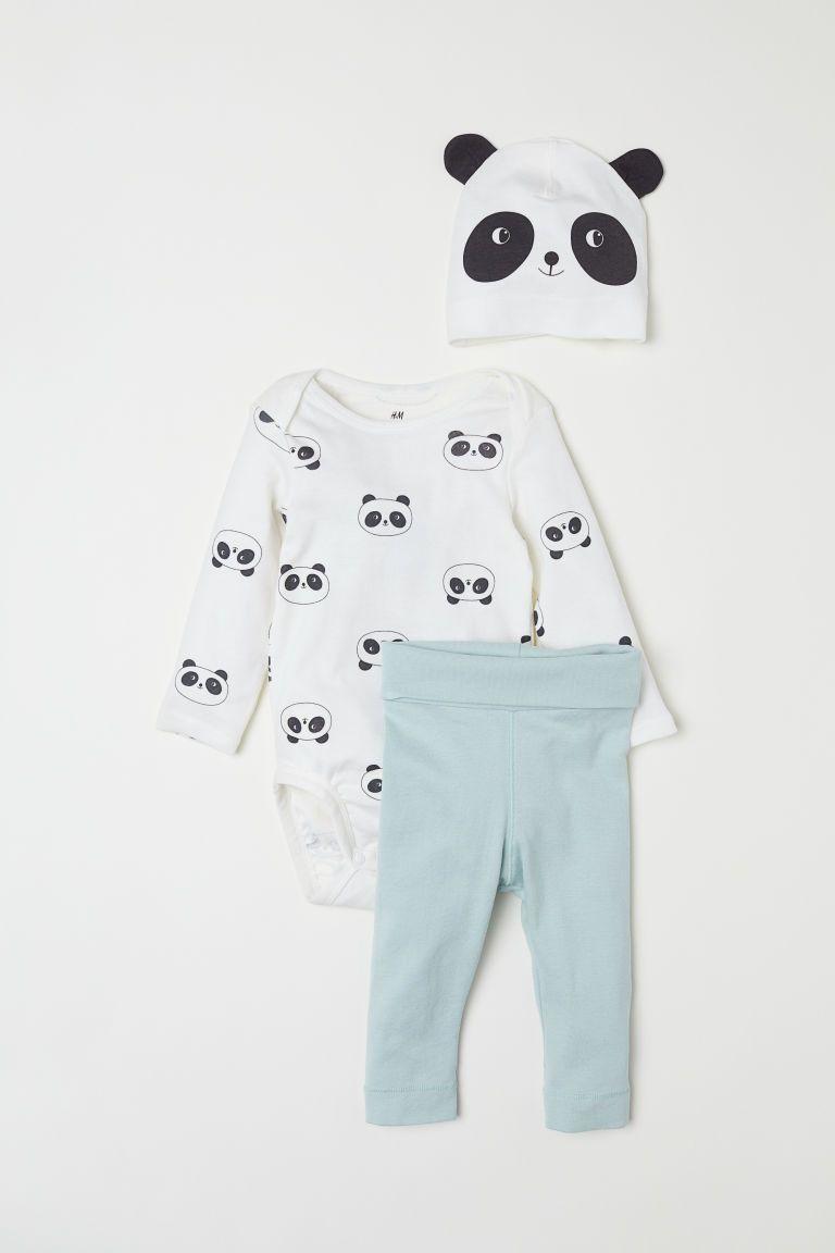 339cec8048f3e 3-piece jersey set - Light turquoise/Panda - Kids | H&M GB 1 | Baby ...
