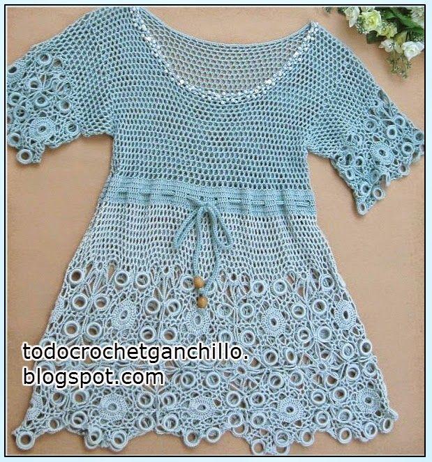 Crochet Dress, Vestido de hilo tejido con ganchillo con patrones de ...