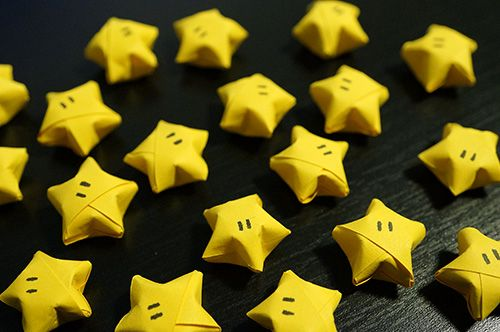 Tiny Origami Nintendo Stars tutorial - great for geeky garland!