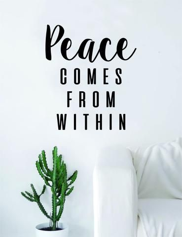 Peace Comes From Within Quote Decal Sticker Wall Vinyl Art Decor Home Buddha Inspirational Yoga Zen Meditate Lotus Flower