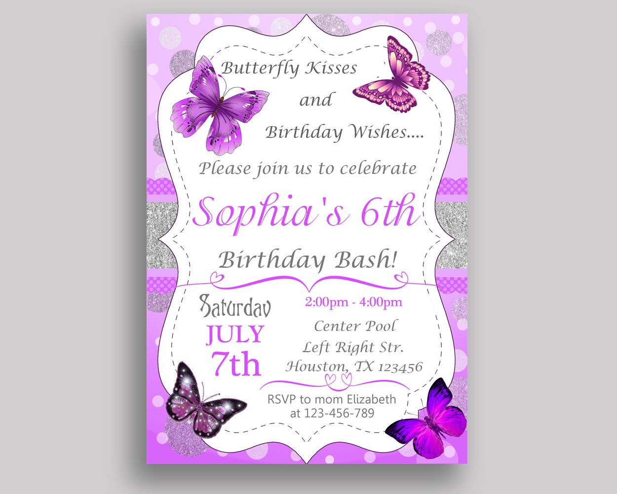 Cute Butterfly Invitations Birthday Images - Invitation Card Ideas ...