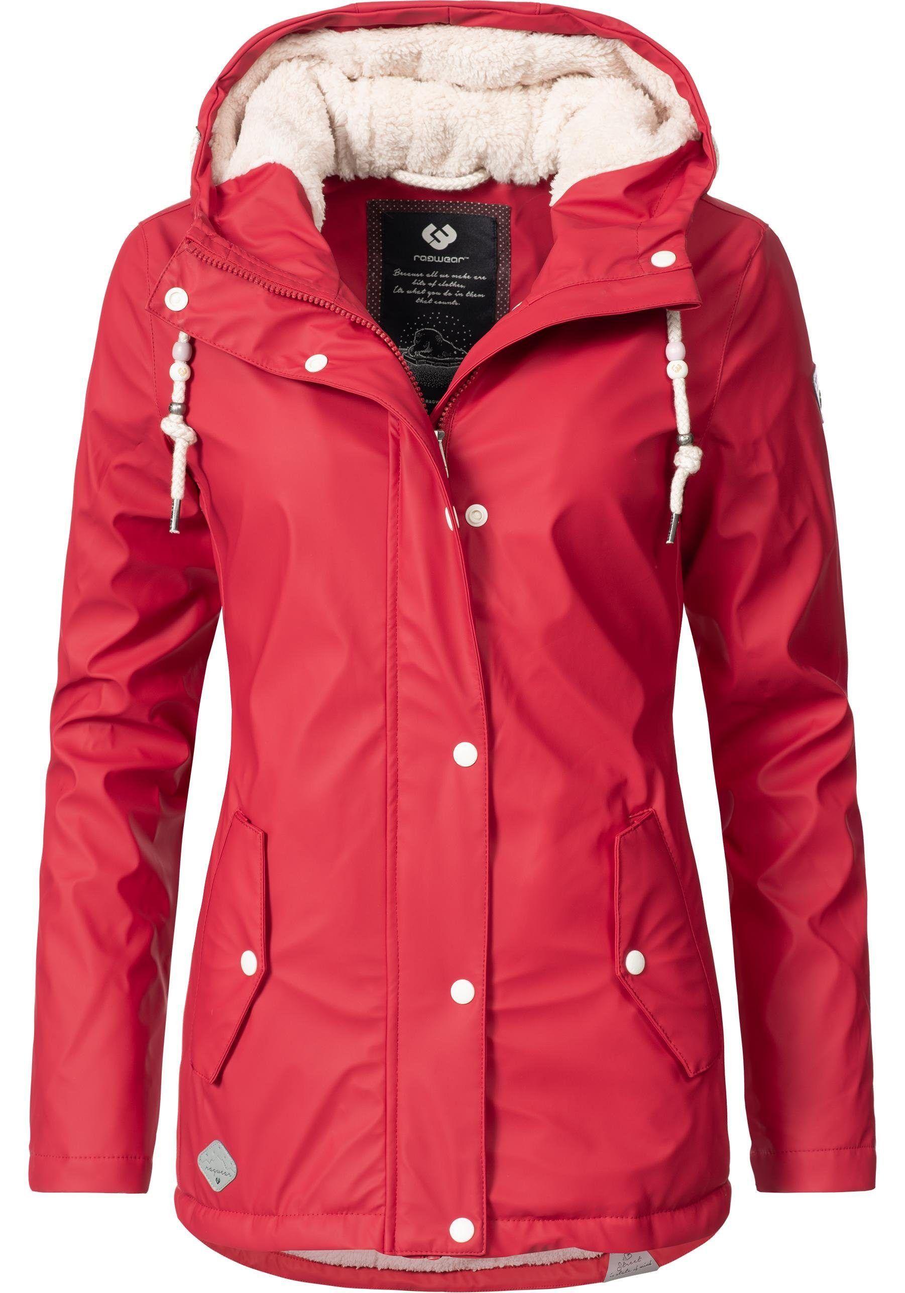 Damen Ragwear Regenjacke Marge Lassiger Damen Winter Regenmantel Rot 04251490161849 Ragwear
