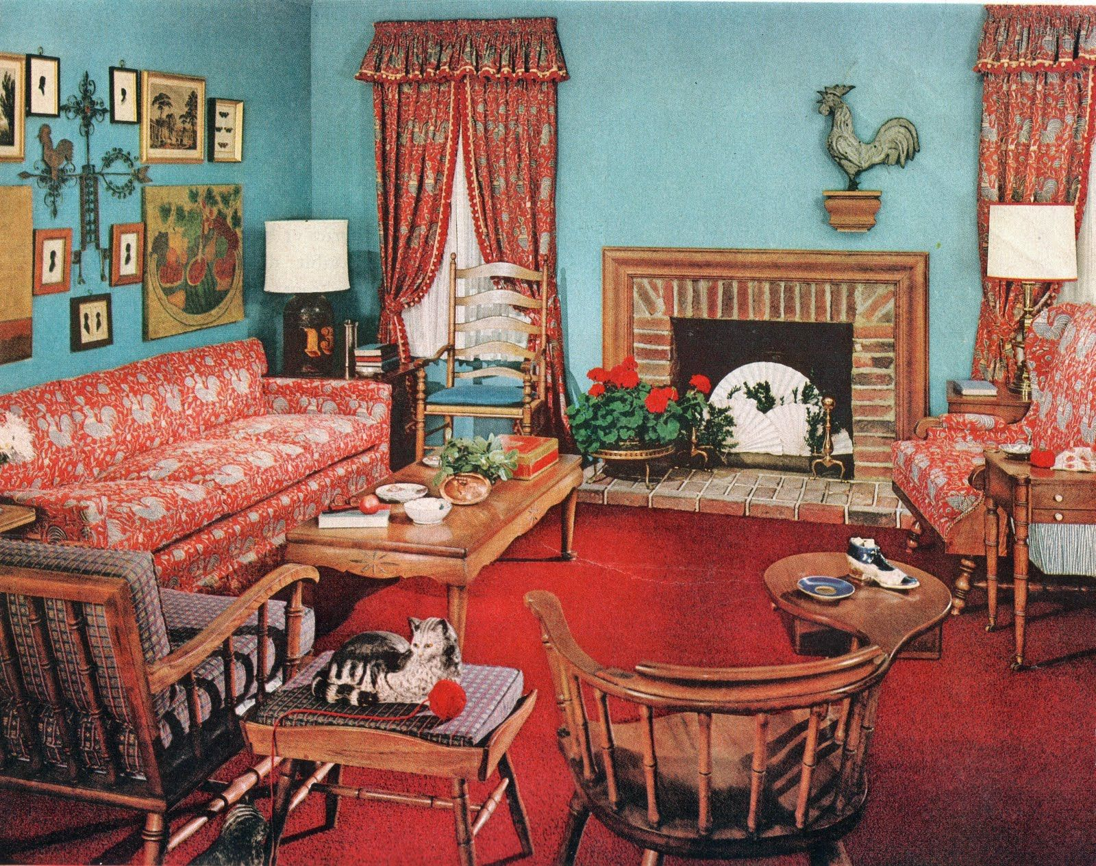 early american 1950 39 s living room lots of hard rock maple home decor 30 39 s 50s 1940s. Black Bedroom Furniture Sets. Home Design Ideas