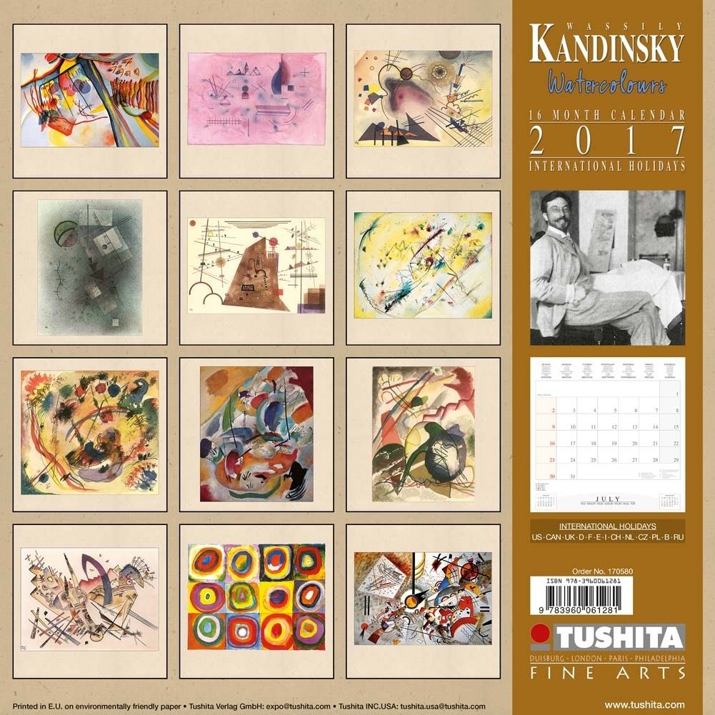 P Wassily Kandinsky Watercolours Wall Calendar Features Twelve Colorful Artworks Under The Artist Wassily K Colorful Artwork Watercolor Walls Fine Art Prints