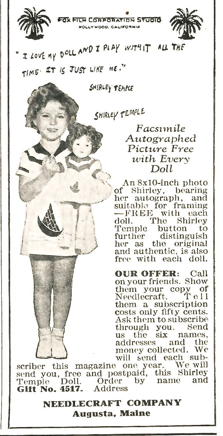 January 1936 - Free Shirley Temple doll with 6 paid subscriptions