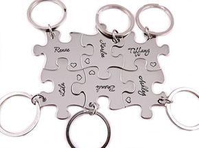 Brautjungfer Puzzle Stück Geschenkset  Hand gestempelt Puzzle