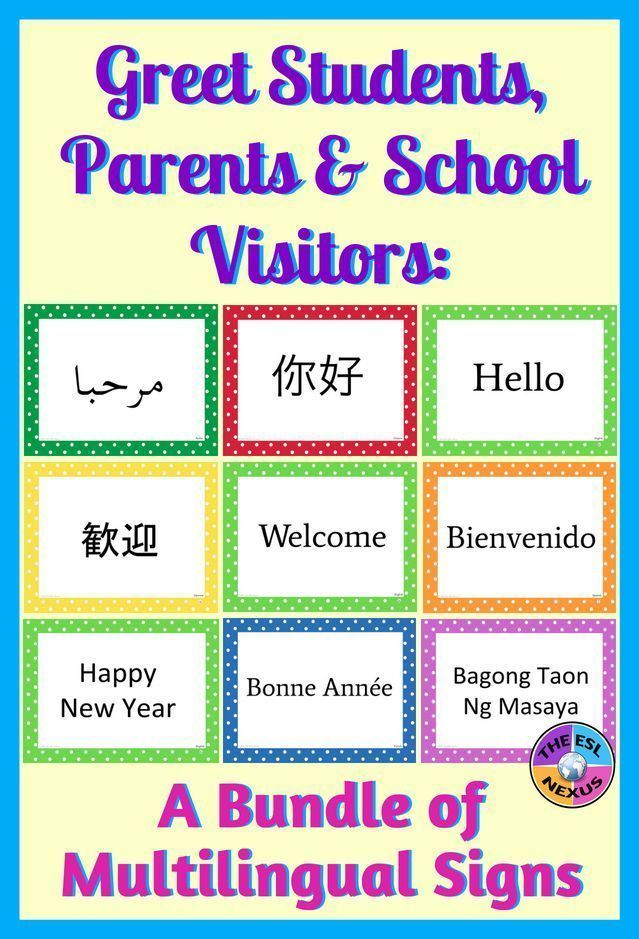 BUNDLE of Multilingual Posters for Classroom Decor Polka Dot Theme Say Welcome Hello  Happy New Year in 26 different languages with these colorful signs when you greet st...