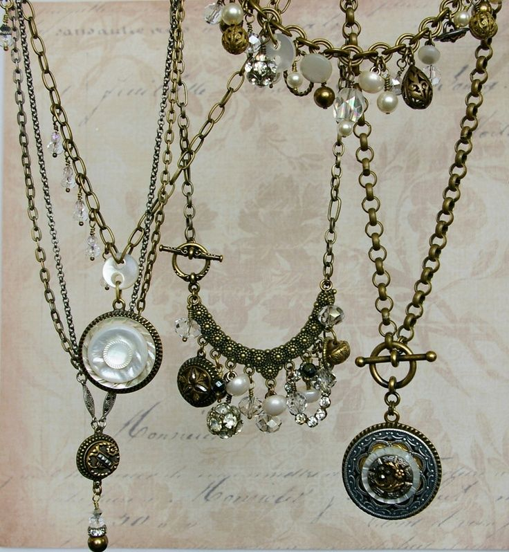 Vintage Button Necklace- Upcycled Jewelry By Donna
