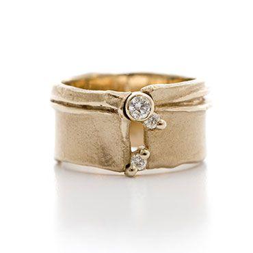 Brede witgouden ring met diamanten | Wim Meeussen Goudsmid Antwerpen