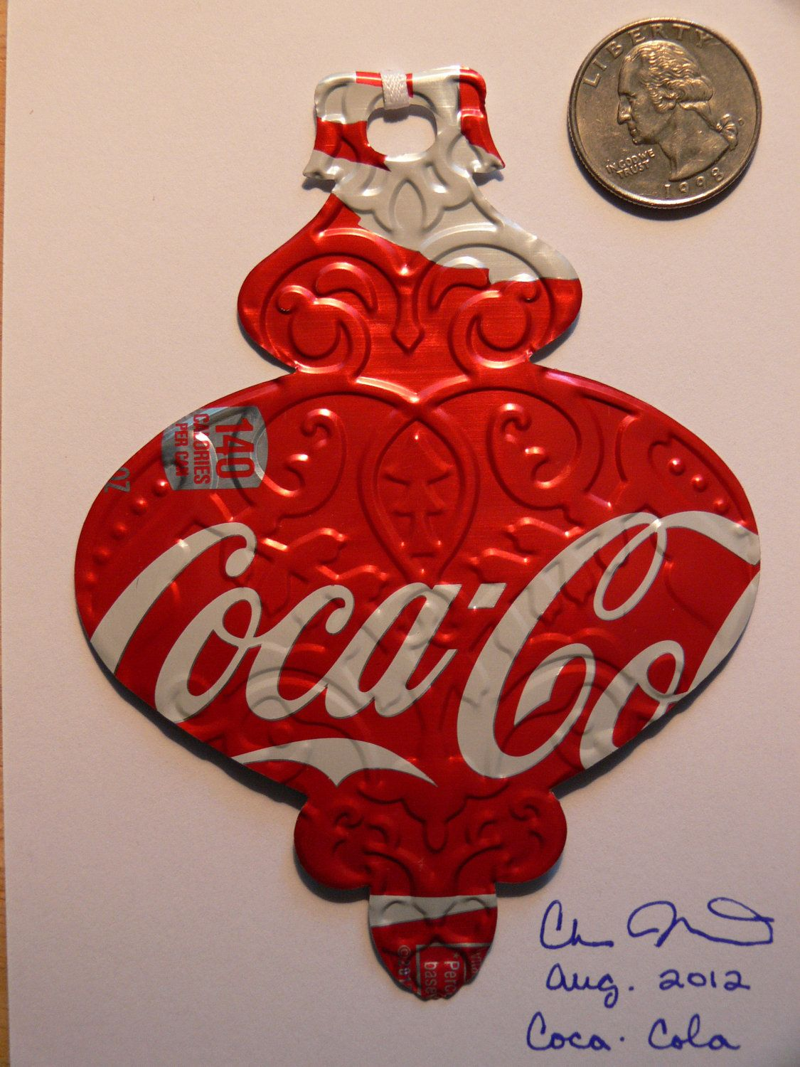 Recycled Soda Can - Coke Coca-Cola Drink Embossed Traditional Christmas Tree Ornament. $2.50, via Etsy.